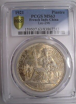 1921 French Indo China Piastre PCGS MS-63          Minted in San Francisco