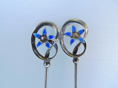Beautiful Pair Of Silver Charles Horner Art Nouveau Forget-Me-Not Hat Pins