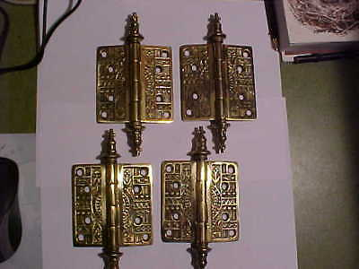 "Set of 4 NEW Victorian Eastlake Style Cast Brass 3-1/2"" by 3-1/2"" Door Hinges"