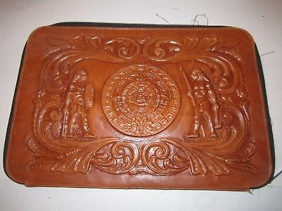 Vintage Leather Notebook Brief Case - Hand Tooled - Sun Dial - See Pics
