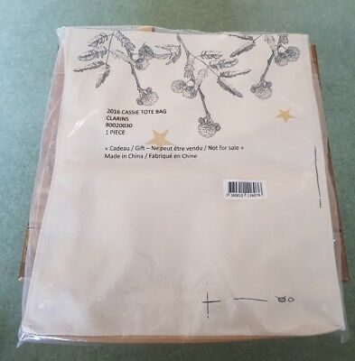 Clarins Canvas Tote Bag Brand New in Bag -  Gold Stars on Reverse