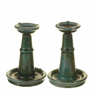 Pair of Antique Chinese Green Ceramic Pottery Oil Lamp / Candle Holder, 19th c