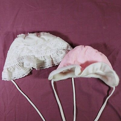 ce Lot of 2 Baby Bonnets White Lace Pink Corduroy Vintage