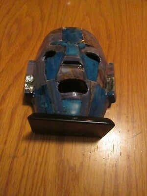 Rare Hand Crafted Mayan Burial Mask With Rare Semi Prescious Stones