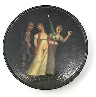 Antique 19th Century Hand Painted Snuff Box