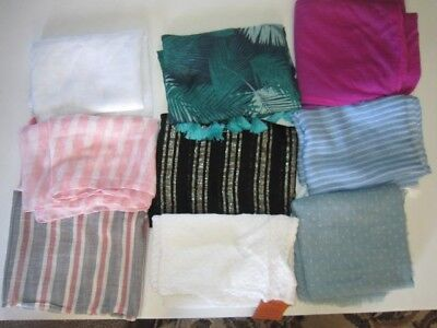 Infinity Scarves Lot of 9 New & Gently Used Blue White Pink Black Green Tassels