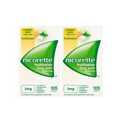 Nicorette 2mg SugarFree Gum - 105 + 105 = 210 Pieces - FruitFusion