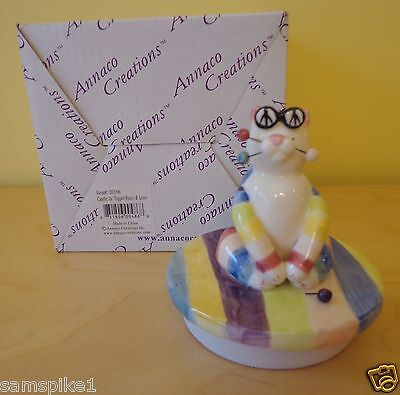 NEW WhimsiClay Cat by Amy Lacombe 2002 Candle Jar Topper #20106 Peace & Love Cat