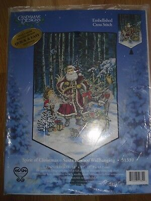 CANDAMAR Stickpackung Spirit of Christmas Santa Banner Wandbehang Adventskalende