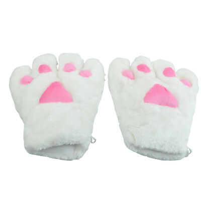 2x White Cat Foot Paw Plush Gloves Party Cosplay F7K1