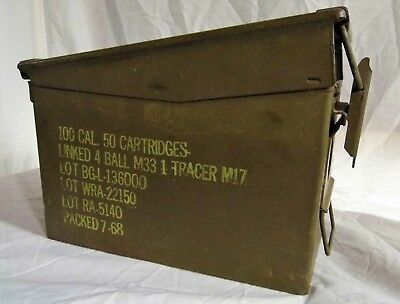 Vintage Military Metal 100 Cal Ammo Box packed 7-68 Empty