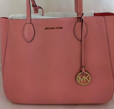 daded88490b6 New Authentic MICHAEL Michael Kors Mae Soft Leather Carryall Tote Coral Reef