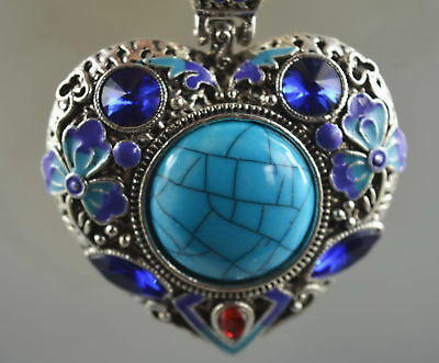 Collectable Handwork Miao Silver Carve Colorful Flower Inlay Agate Noble Pendant