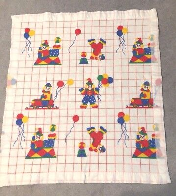 "Vintage 1985  Toddletime ""fun Clowns"" Baby Blanket Polka Dots Reversible  39X43"