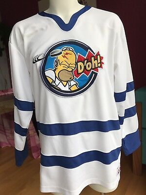 Homer Simpson Hockey Jersey D oh! Hit in Head Puck White Medium The Simpsons 4d8e1c01601