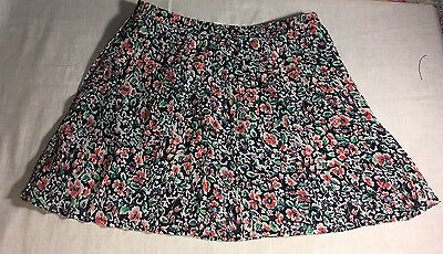 Old Navy Girls Elastic Waist Skirt Lined Pleated Sz 8 Black White/Pink Flowers