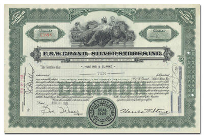 F & W Grand - Silver Stores Inc. Stock Certificate (Became H L Green)
