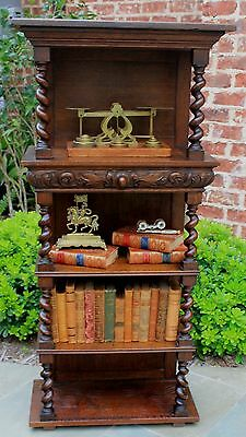 Antique English Oak 5-Tier BARLEY TWIST Bookcase Etagere Display Table Entry