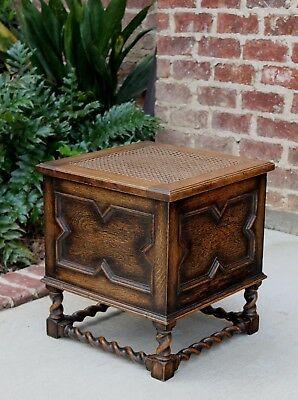 Antique English Oak Barley Twist Jacobean Caned Lift Top Foot Stool Bench Box