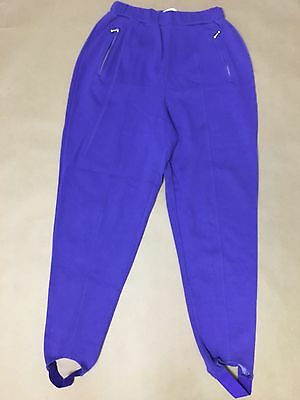 Womens L High Waisted Pants Vtg Neon Purple Hot Mom Sweat Stirrup Stretch 80s