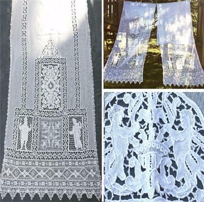 2 Antique Belle Epoque Bobbin Lace/ Figural Needle-Lace Boudoir Curtains/ Drapes