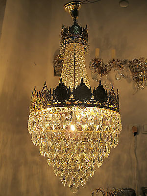 Antique Vintage French  Basket Style Crystal Chandelier Lamp Light 1940's.16 in.