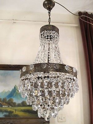 Antique Vintage French  Basket Style Crystal Chandelier Lamp Light 1940's.13 in.