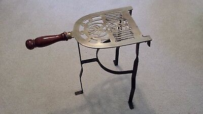 Vintage Wrought Iron Brass Fireplace Trivet Pot Kettle Warming Stand