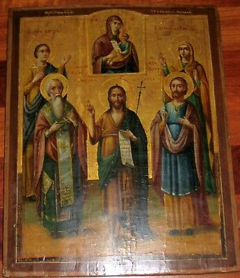 Large Original Antique Orthodox Russian Icon 18Th C Mother Of God Saints