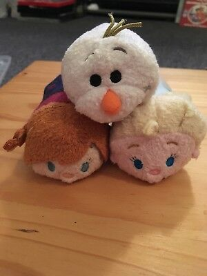 Set Of 3 Frozen Bundle Tsum Tsums Olaf Snowman Anna Elsa Disney Store