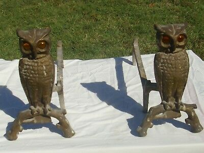 Antique Cast Iron & Brass Gilt Owl Andirons with Glass Amber Eyes