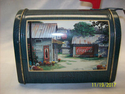 Coca-Cola Logo Tin Mini Mail Box With Red Flag Collectible
