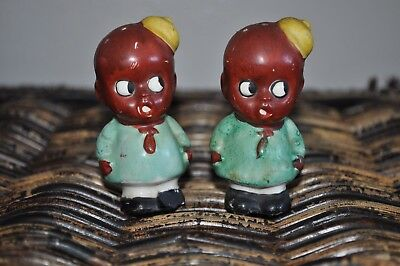 Vintage Rare Black Americana Boys Hat Salt & Pepper Shakers Made in Japan