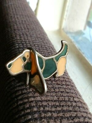 Miniature  Stain Glass Basset Hound Figurine Green and Gold Ears come off