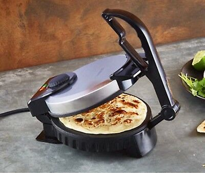 Electric Tortilla Maker Roti Maker Cooker Non Stick 900W Stainless Press Handle