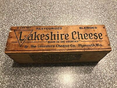 ANTIQUE WOOD LAKESHIRE 5lb. WISCONSIN SWISS CHEESE BOX.