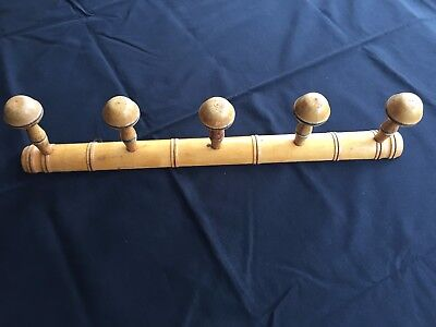 Vintage French wooden faux bamboo coat hat rack towel hook 5 pegs clothes hanger