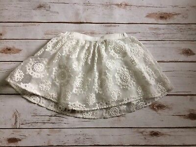 Forever 21 Girls Skirt Size Small 5/6 White Embroidered Snowflake *tiny flaws*