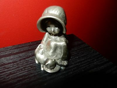 Vintage Holly Hobbie Fine Pewter Limited Edition Girl With Cat Figurine RARE