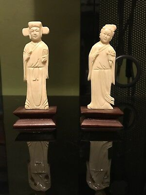 Antique Chinese Ivory Figurines Hand Carved Hong Kong Rare Vintage