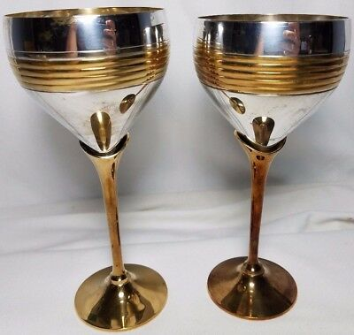 Silver and Gold Plated BRASS Wine Goblets Set of 2