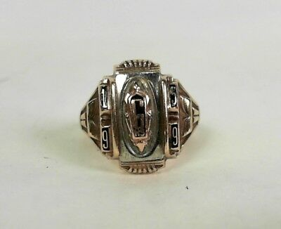 Vintage Women's 1956 High School Class Ring 10K Yellow & White Gold - Size 6.5