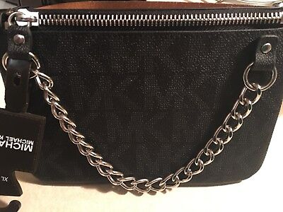 Michael Kors Signature Faux Leather Fanny Pack Black Silver NEW with tags L,XL
