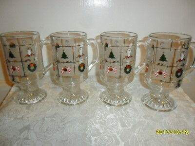 Vintage Holiday/Christmas Pedestal Mugs W Gold Accents Set of Four by Culver USA