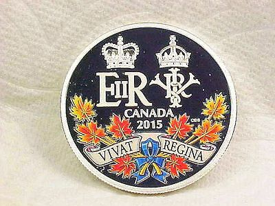 """2015 $20 silver proof Canadian : """"A HISTORIC REIGN""""   COLORIZED"""