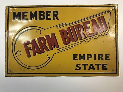 Vintage New York Farm Bureau Metal Member Sign - Farm/agriculture Advertising