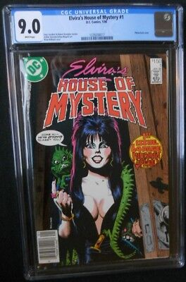 cgc 9.0 ELVIRA'S HOUSE OF MYSTERY #1 DC 1986 White/pgs vf/nm  BRIAN BOLLAND cvr