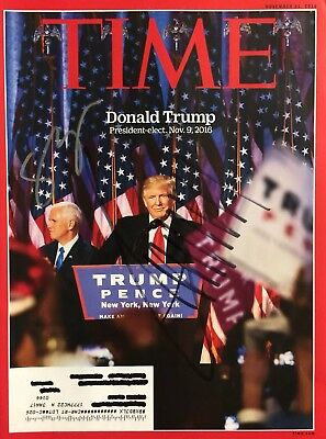 President Donald Trump Dual Signed Autographs Mike Pence Signed Time Magazine