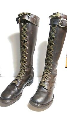 Vintage Antique TALL Brown Leather U.S. Roaring 1920's  Men's Boots Size 8-9
