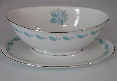 """abalone china """"sky flower"""" gravy boat with under plate"""